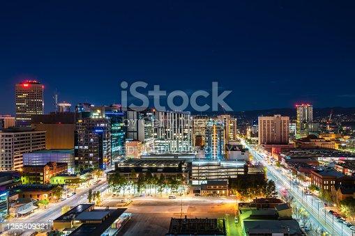 Adelaide, South Australia - June 5, 2020: Adelaide CBD skyline illuminated at night viewed towards east