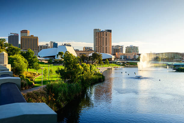 Adelaide Ciity, Australia In 2013 Adelaide was ranked as the fifth-most liveable city in the world. Estimated resident population is about 1.3 million riverbank stock pictures, royalty-free photos & images