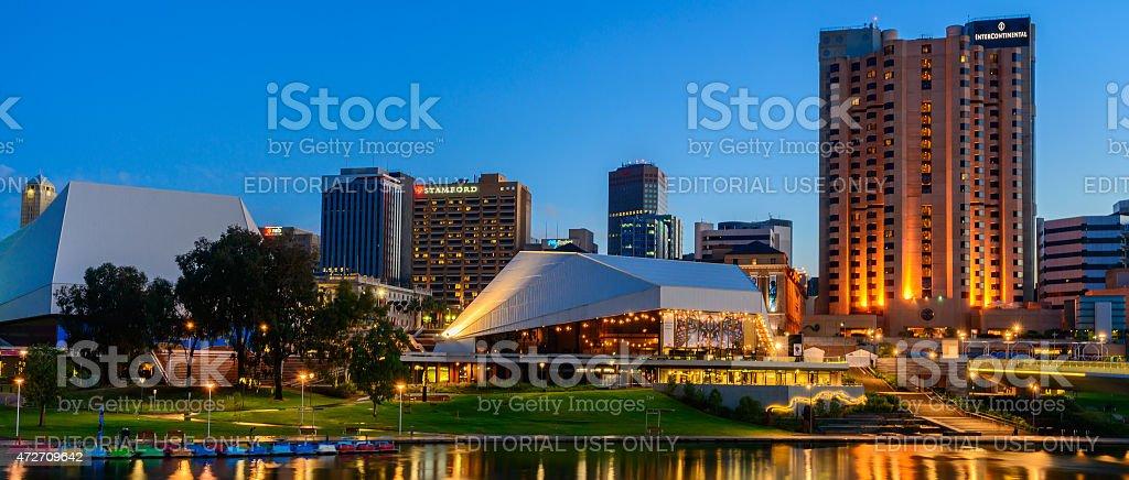 Adelaide city at night stock photo