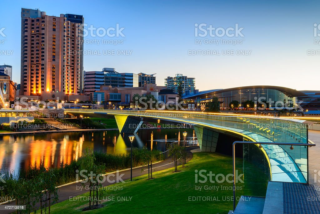Adelaide city at night stock photo