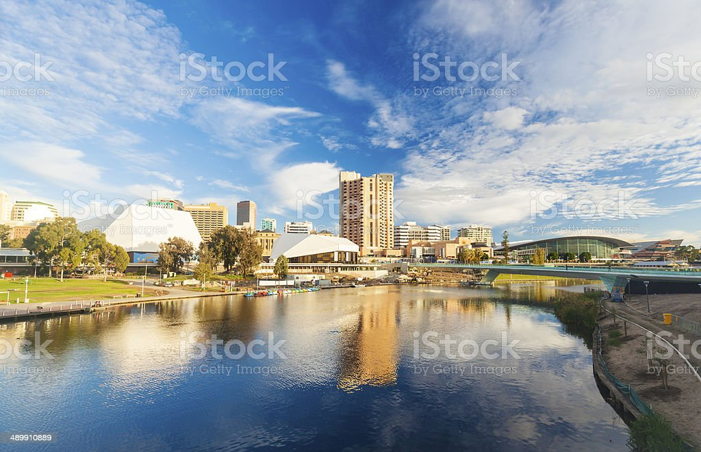 Adelaide city centre across the River Torrens stock photo