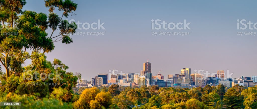 Adelaide city from the hills stock photo