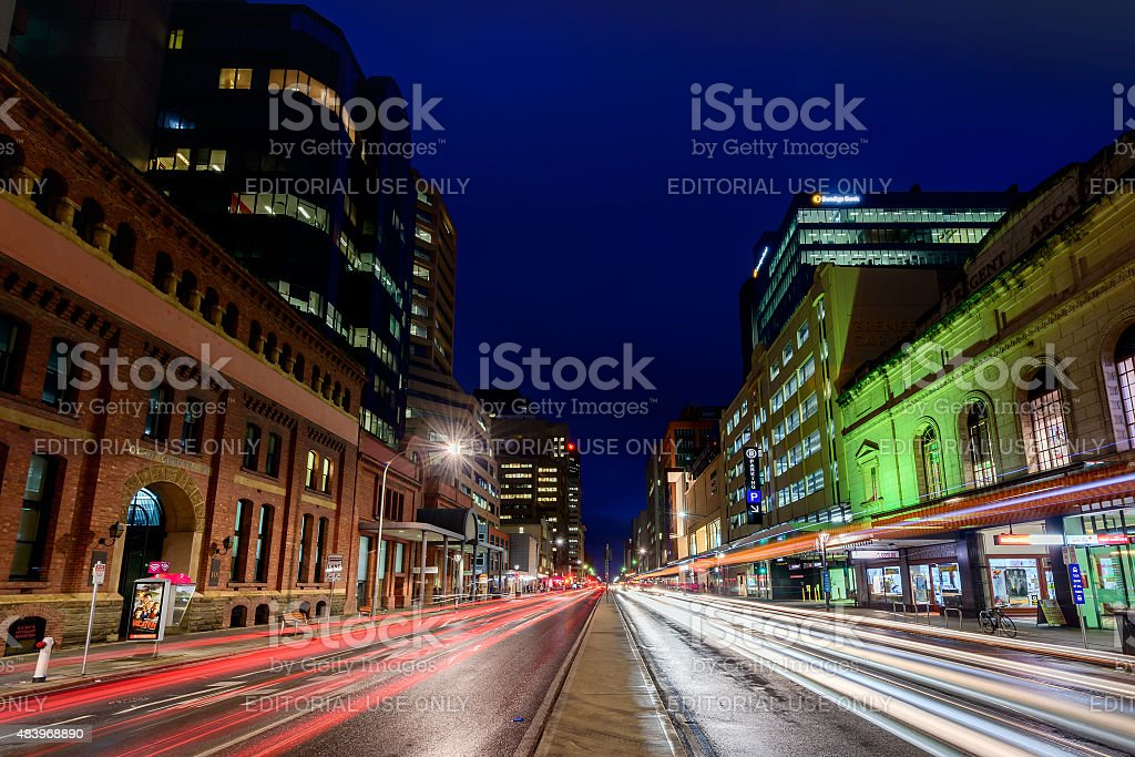 Adelaide city lights stock photo