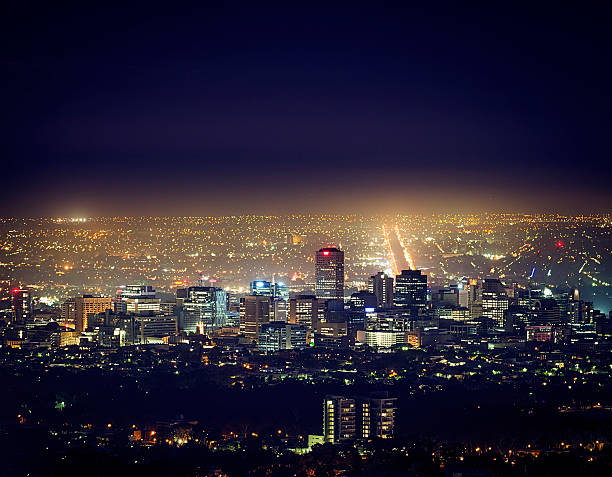 Adelaide Cityscape at Night stock photo
