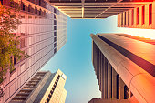 Upward view of Adelaide office buildings in CBD. Color-toning applied.