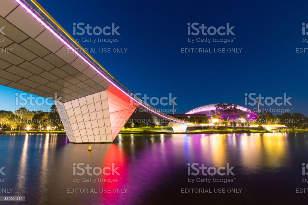 Adelaide Oval at night stock photo