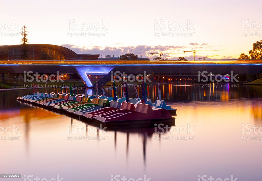 Adelaide Oval Foot Bridge - Torrens River - Paddling Boats stock photo