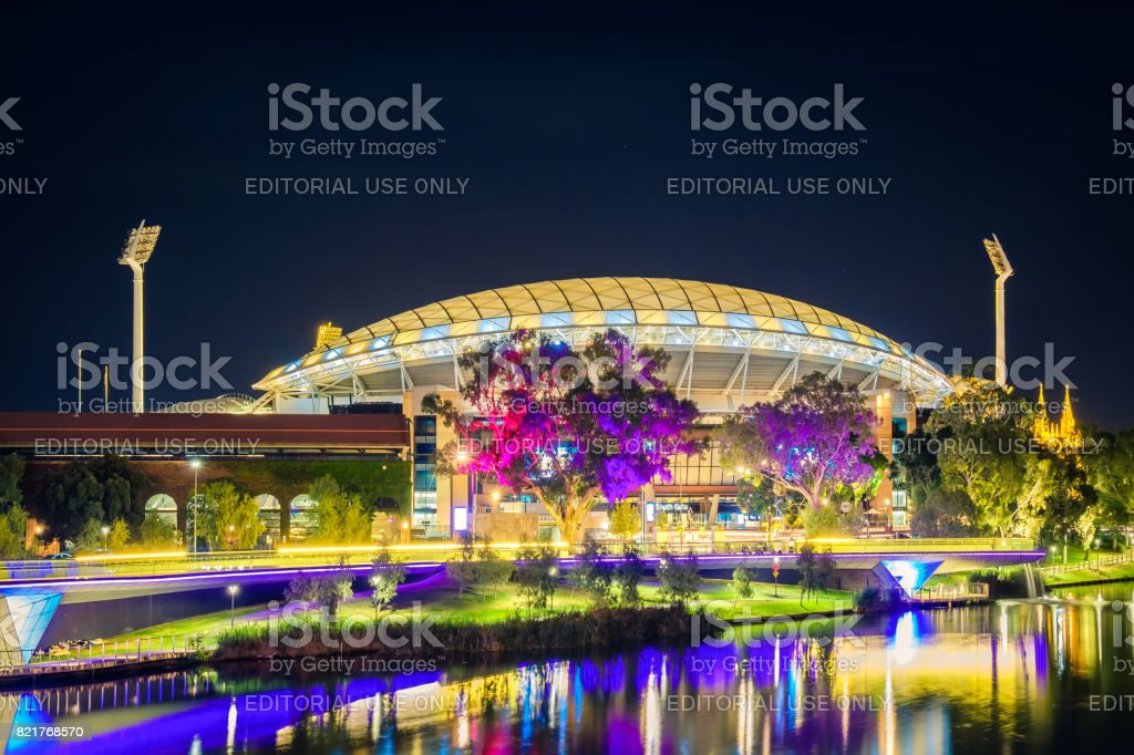 Adelaide oval illuminated at night stock photo