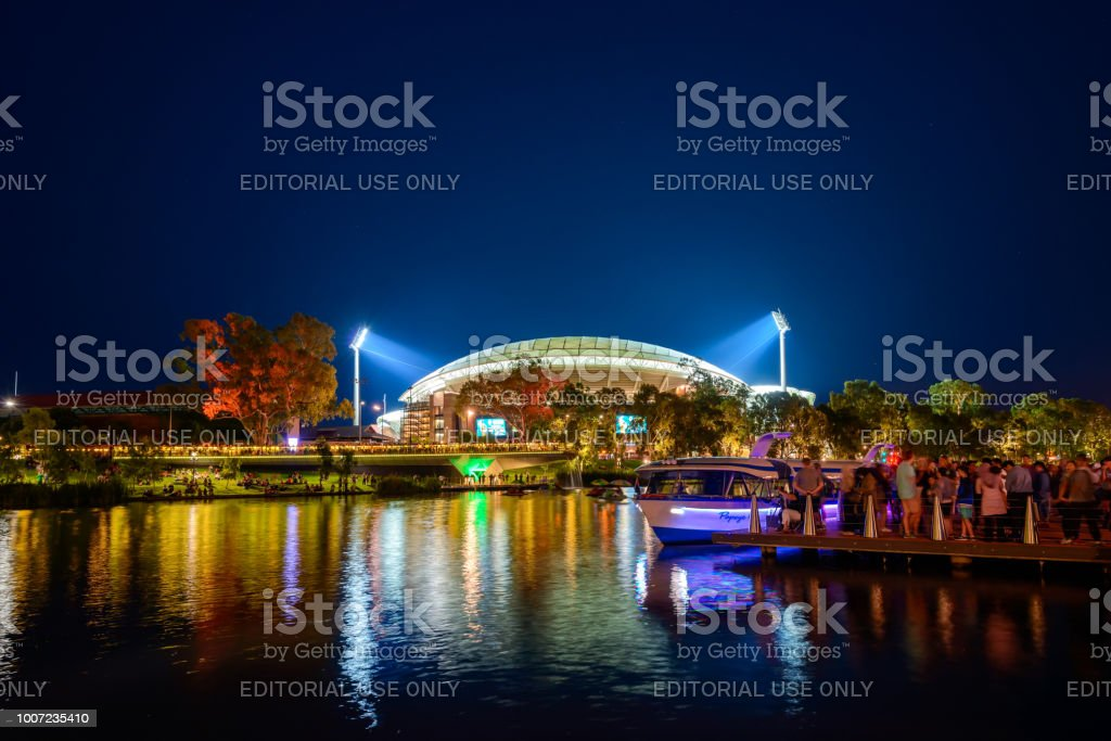 Adelaie Oval and Popeye boat at Riverbank stock photo