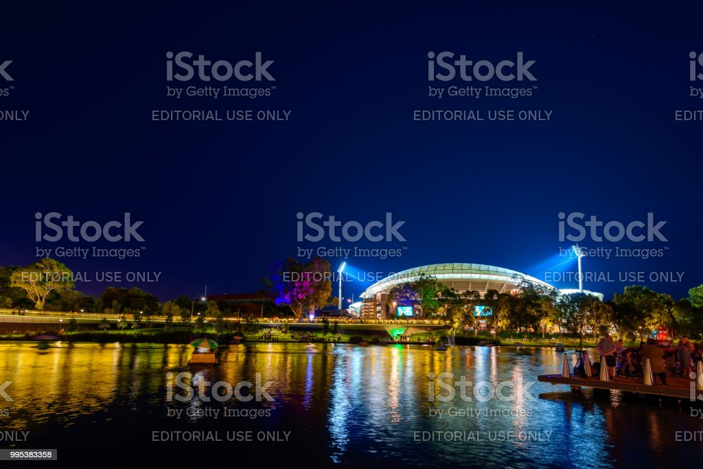 Adelaie Oval and Riverbank at night stock photo
