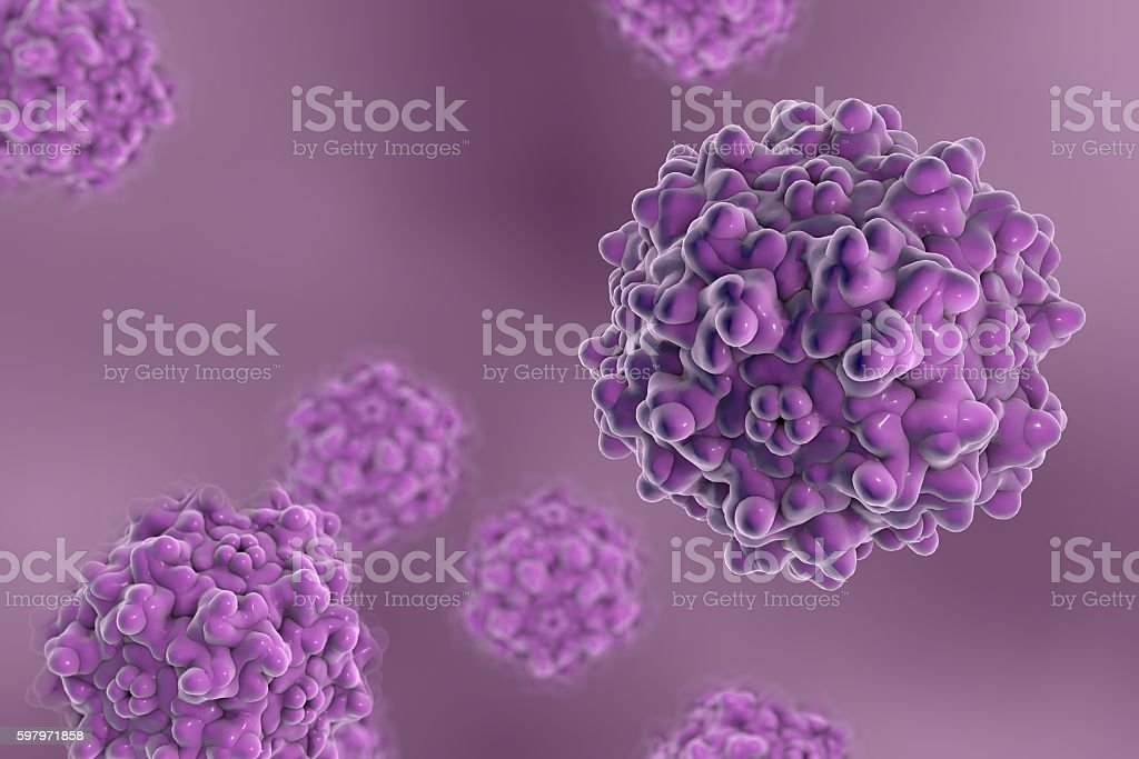 Adeno-associated viruses, 3D illustration Background with viruses. Adeno-associated virus serotype 1. Virus is used for gene therapy. 3D illustration Backgrounds Stock Photo