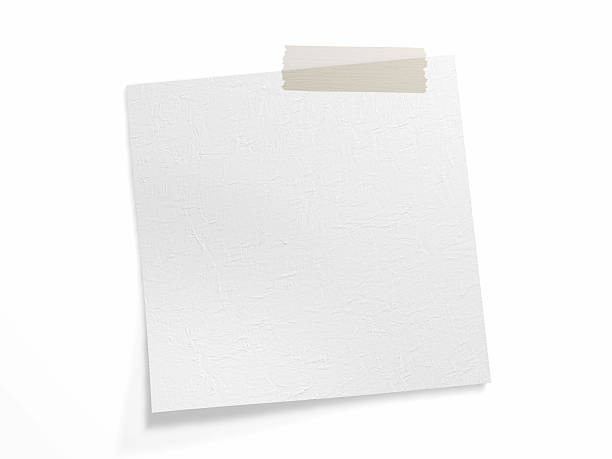 Adhesive band on white note (Clipping Path) stock photo