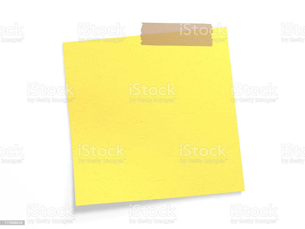 Adhesive band on yellow note (Clipping Path) stock photo