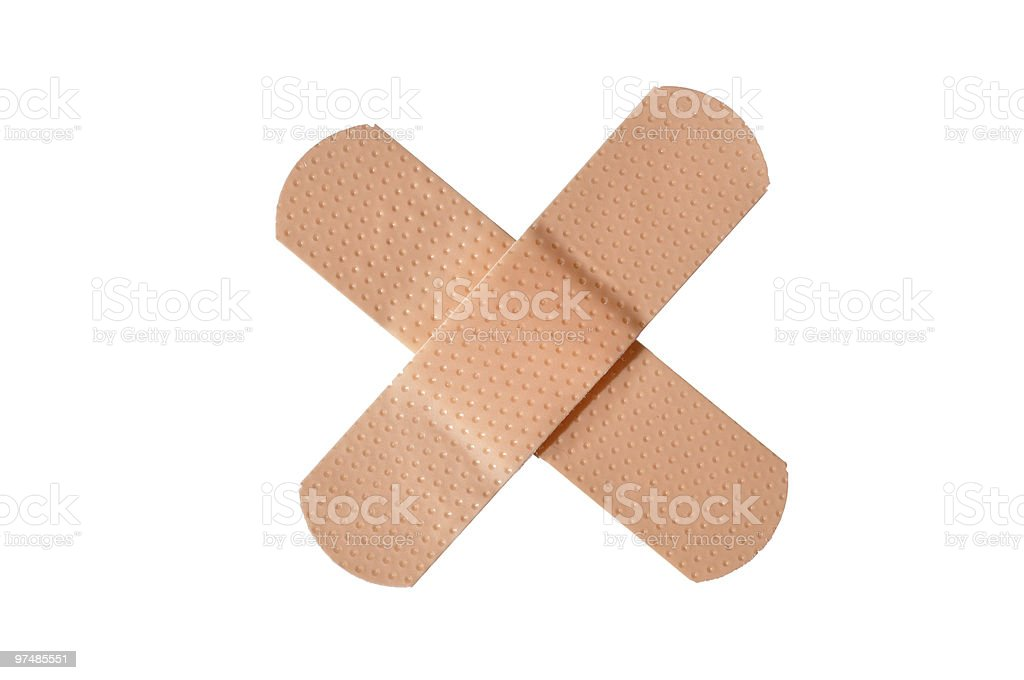 Adhesive bandages crossed in an 'X,' isolated royalty-free stock photo