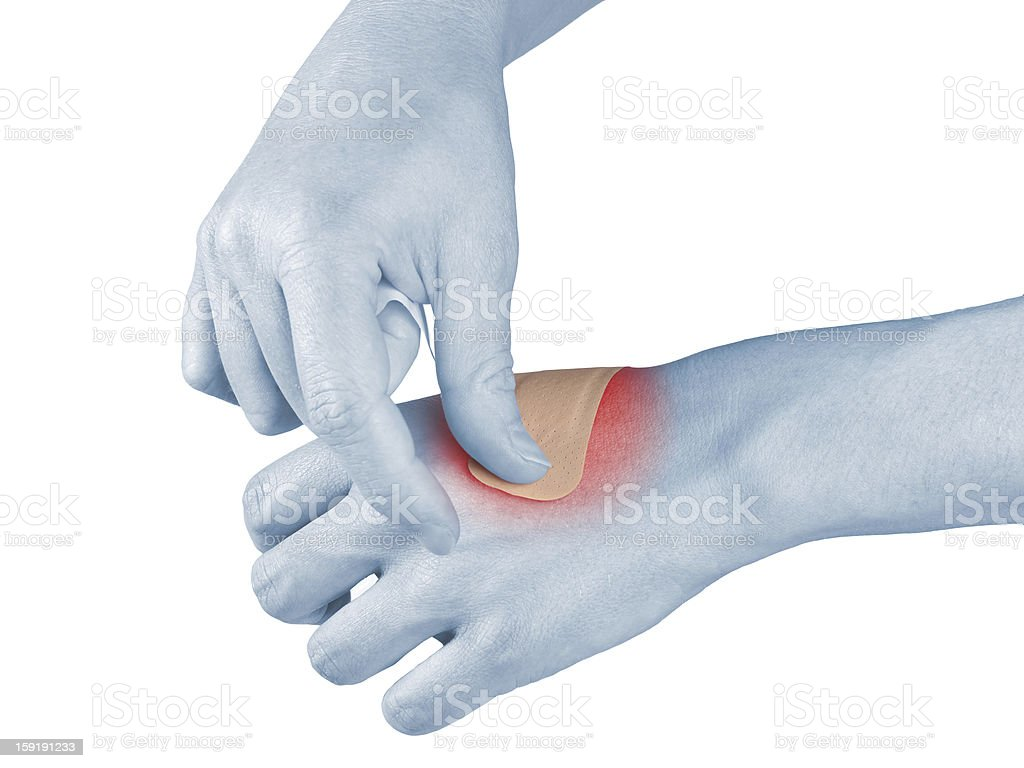 Adhesive Healing plaster on hend finger. royalty-free stock photo