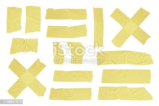 Adhesive Isolated Yellow Scotch Sticky Tape Pieces. Torn Paper Elements Set on a White Background.