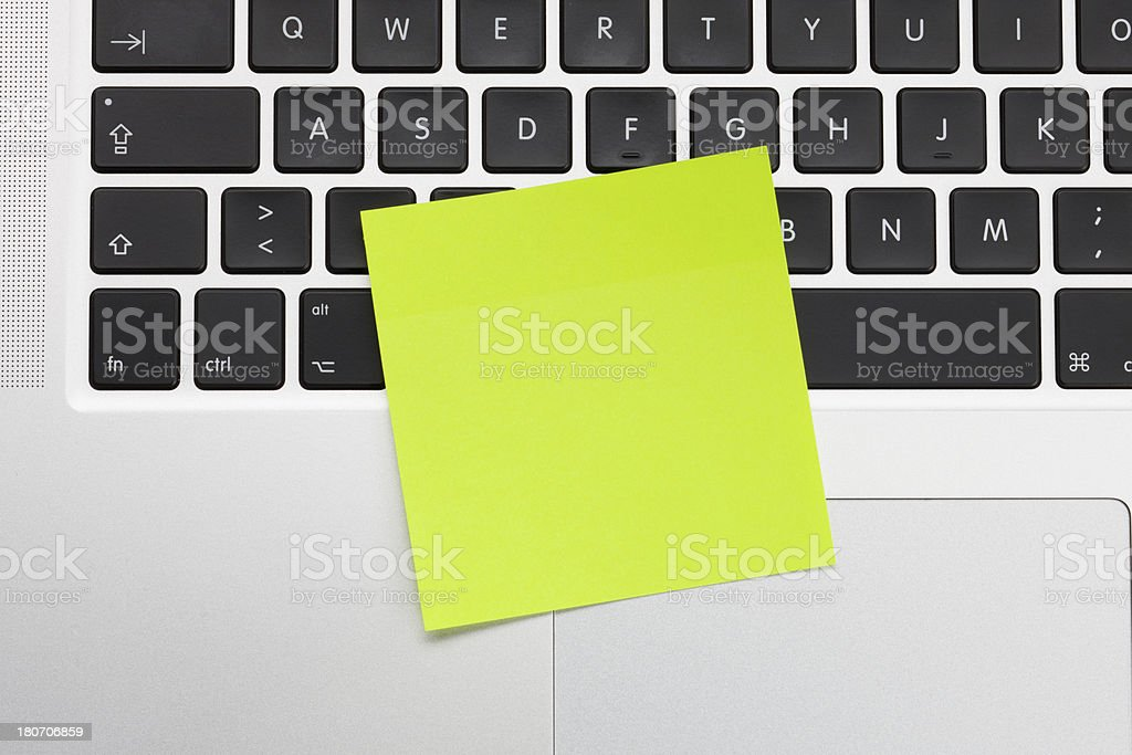 Adhesive Note on computer keyboard
