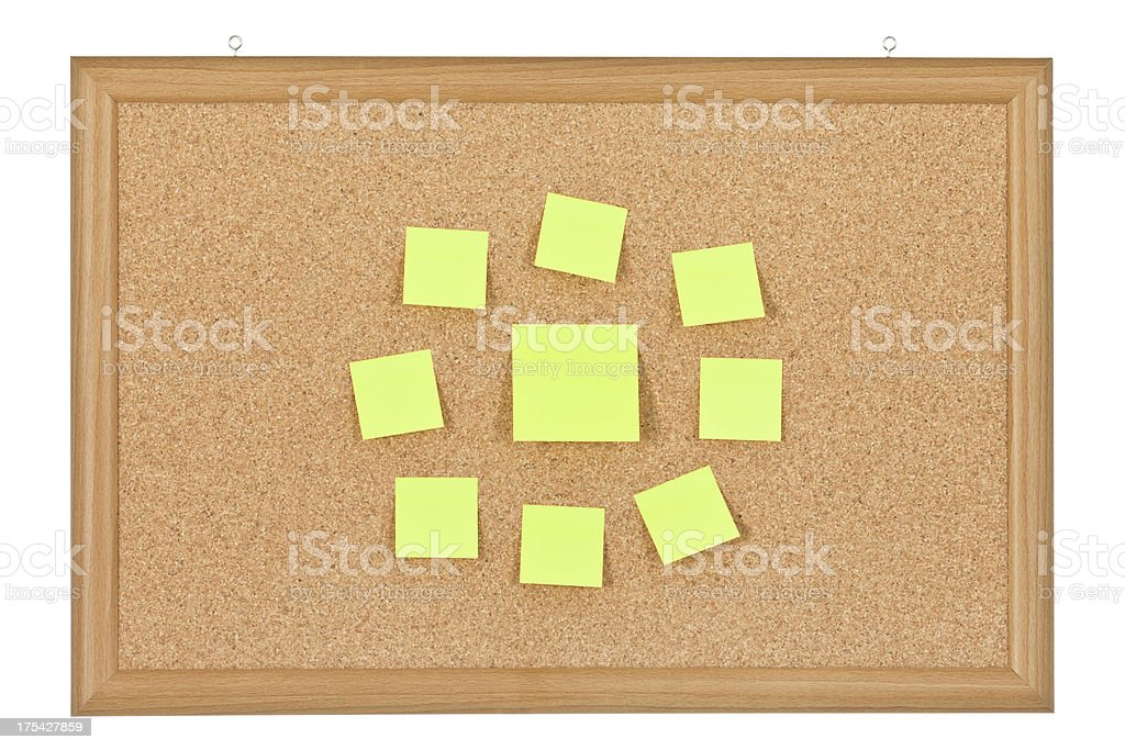Adhesive Notes on Corkboard royalty-free stock photo