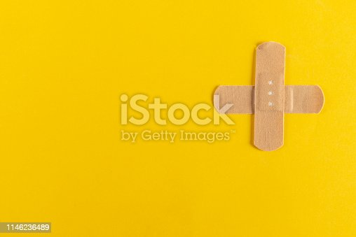Adhesive plaster on the yellow background.