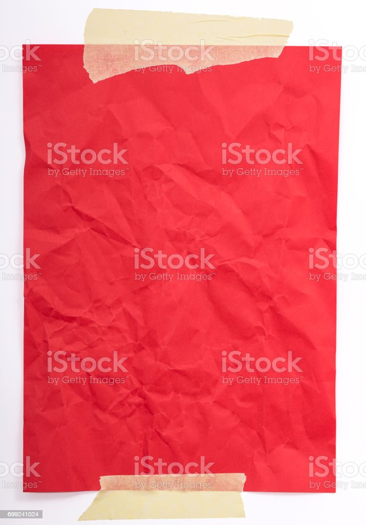Adhesive Tape and Blank Red Paper stock photo