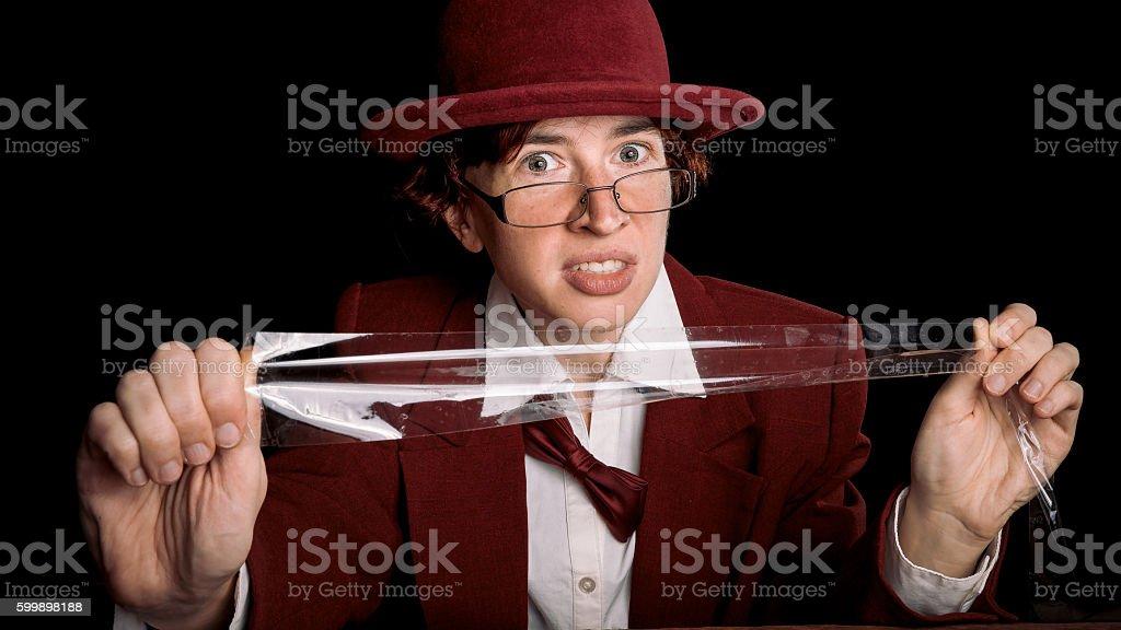 Adhesive tape frightening stock photo