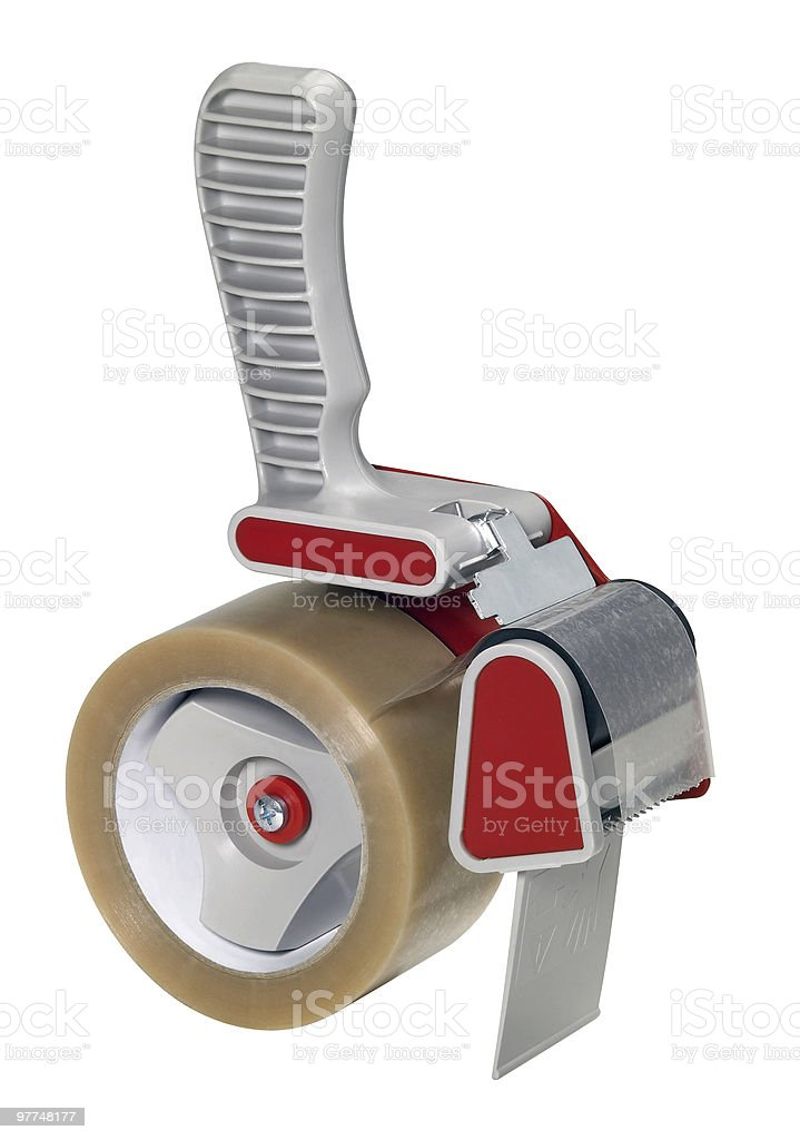 adhesive tape roller isolated on white stock photo