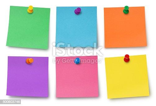 istock Adhesives Notes and Pushpins 500603746