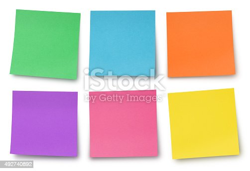 Collection of six colorful adhesives notes isolated on white (excluding the shadow)