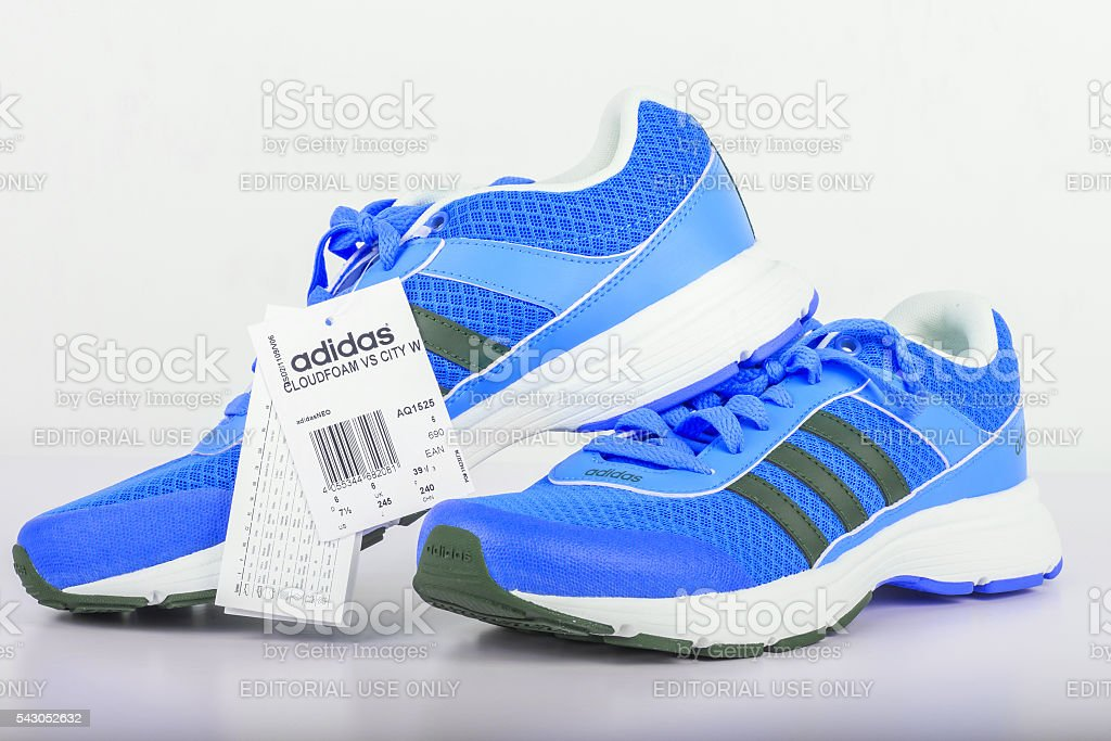 Adidas blue shoes for women. stock photo