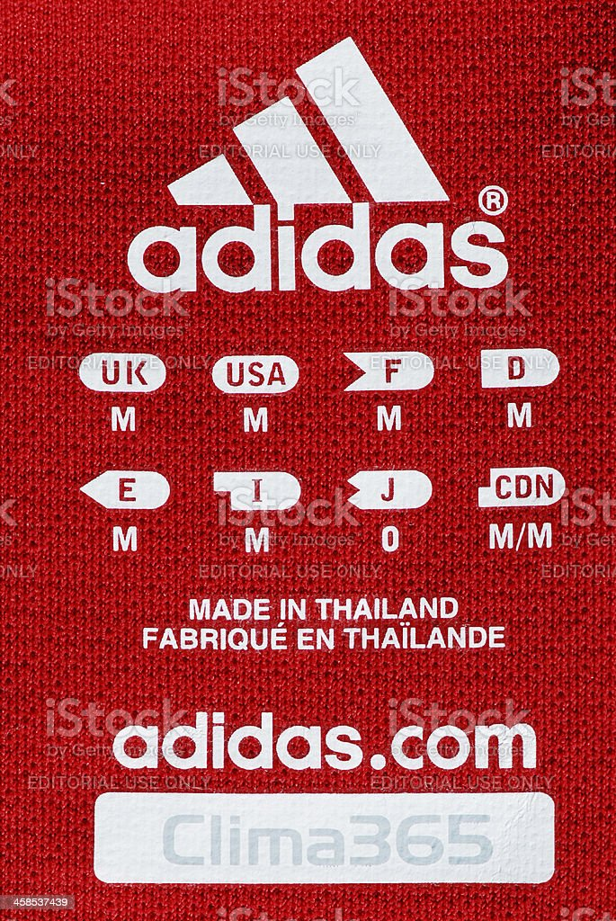 Adidas logo and sizes on Chicago Fire Soccer Club jersey stock photo