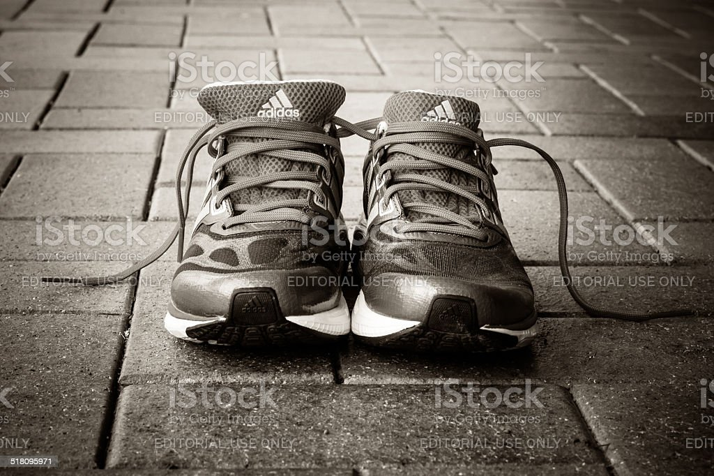 Adidas running shoes stock photo