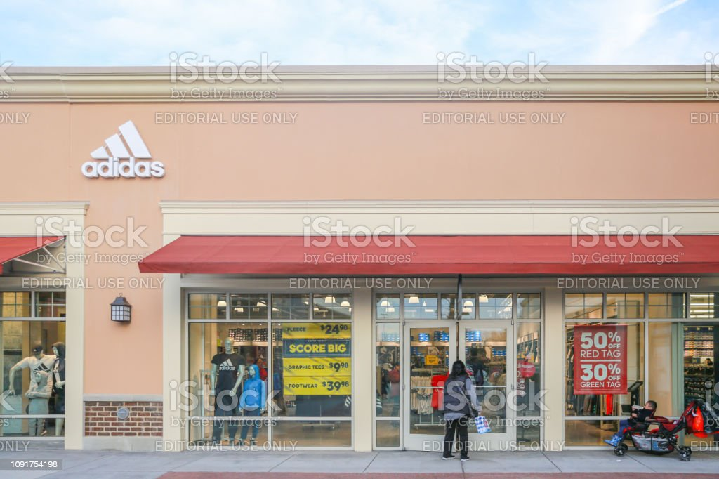 adidas store front in New Jersey stock photo