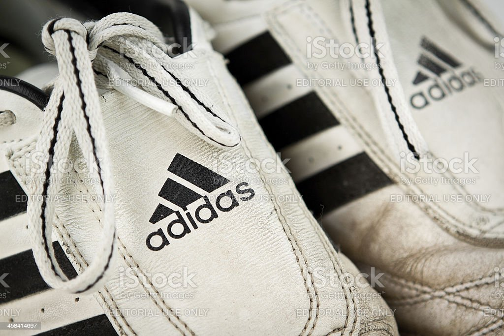 Adidas Worn Trainers stock photo