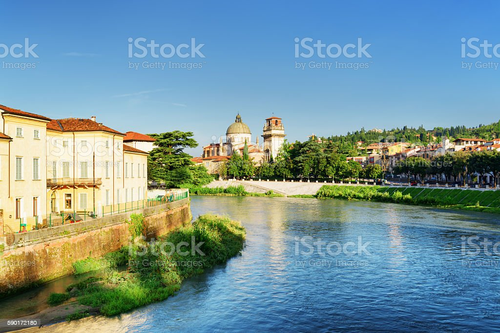 Adige River and Church of San Giorgio in Braida, Verona stock photo