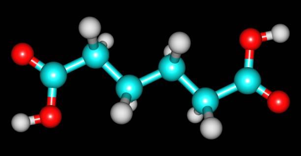 Adipic acid molecular structure isolated on black – zdjęcie