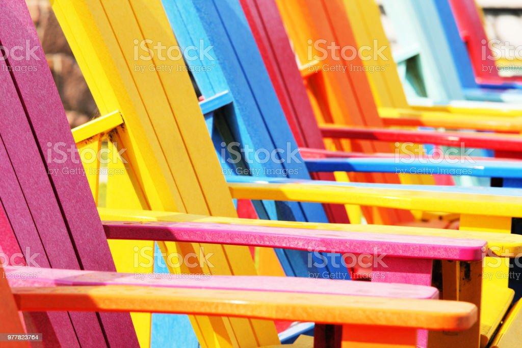 Adirondack Armchair Chairs Outdoor Furniture stock photo