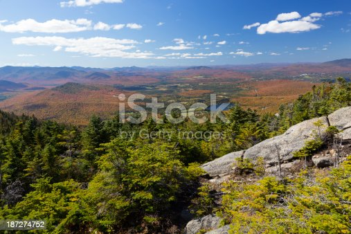 A mountain view on an autumn day in the Adirondack Mountains, NY, USA.  View from summit of Cascade Mountain.