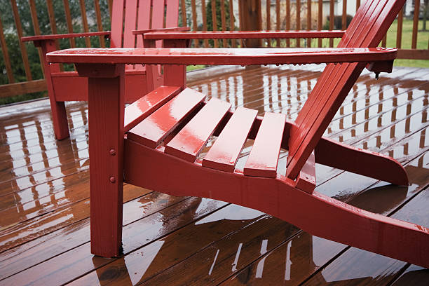 Adirondack Chair in the Rain stock photo