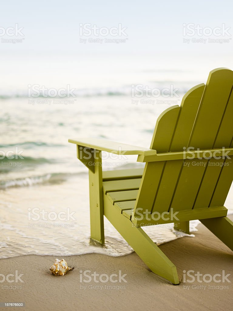 Adirondack Chair on Beach stock photo