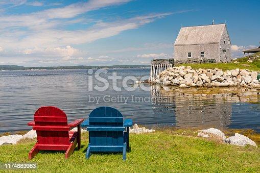 Adirondack chairs along the ocean near Peggy's Cove, Nova Scotia, Canada
