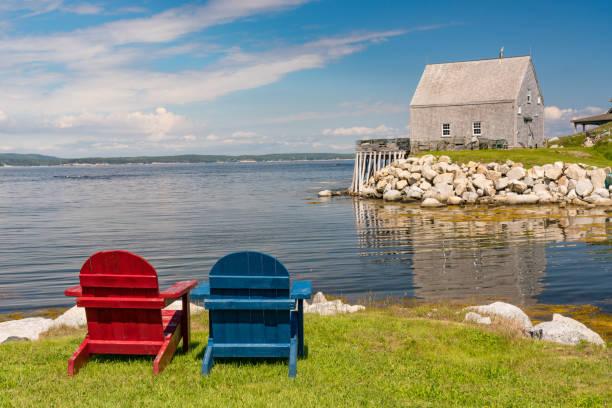 Adirondack Chairs Along the Coast in Nova Scotia stock photo