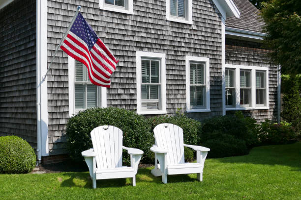 Adirondack Chairs and American Flag stock photo