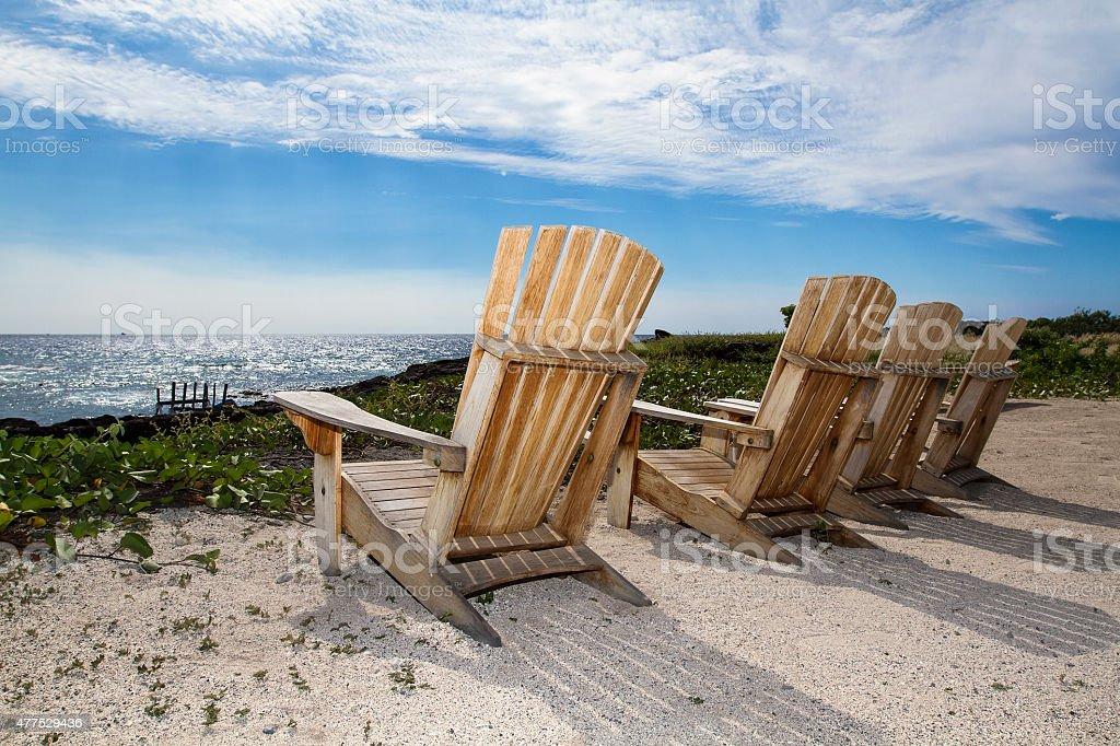 Adirondack Chairs at the Beach stock photo