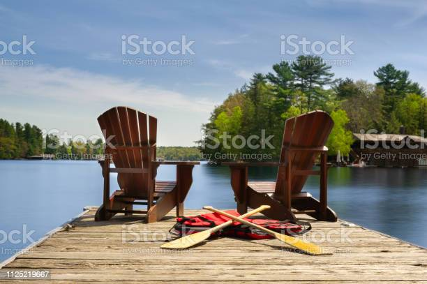 Photo of Adirondack chairs on a wooden dock facing ta calm lake