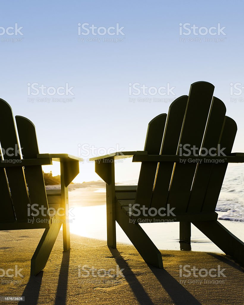 adirondack chairs on beach. adirondack chairs on beach stock photo