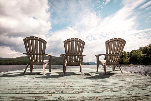 Adirondack Chairs on Lake Dock