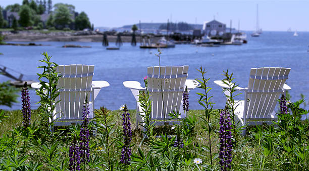Adirondack Chairs Overlooking the Harbor stock photo