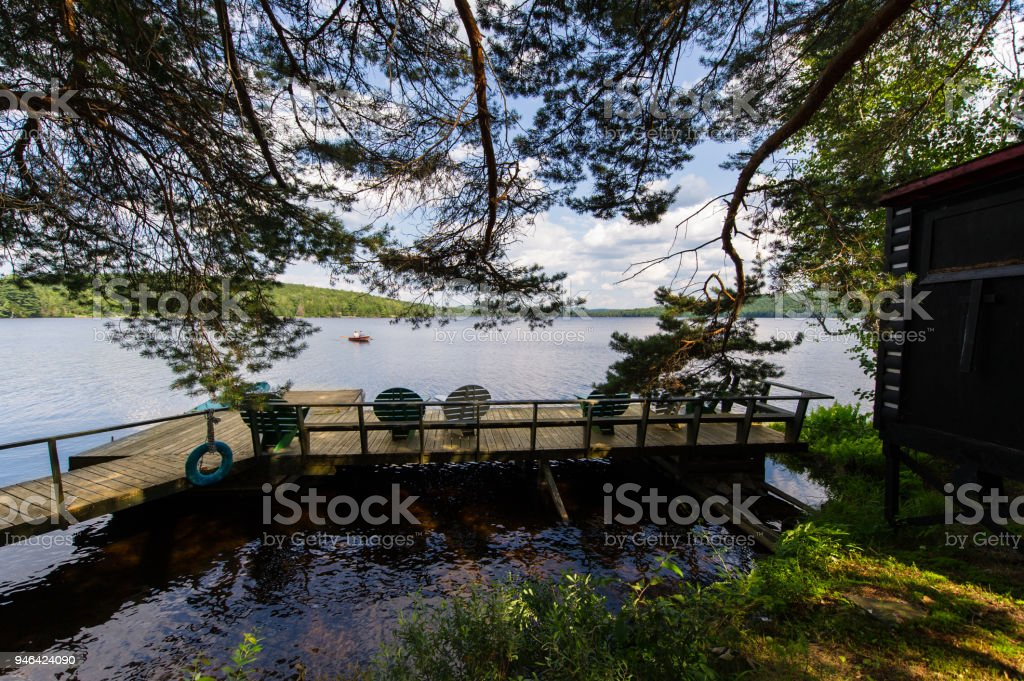 Adirondack chairs sitting on a wooden dock facing a lake stock photo