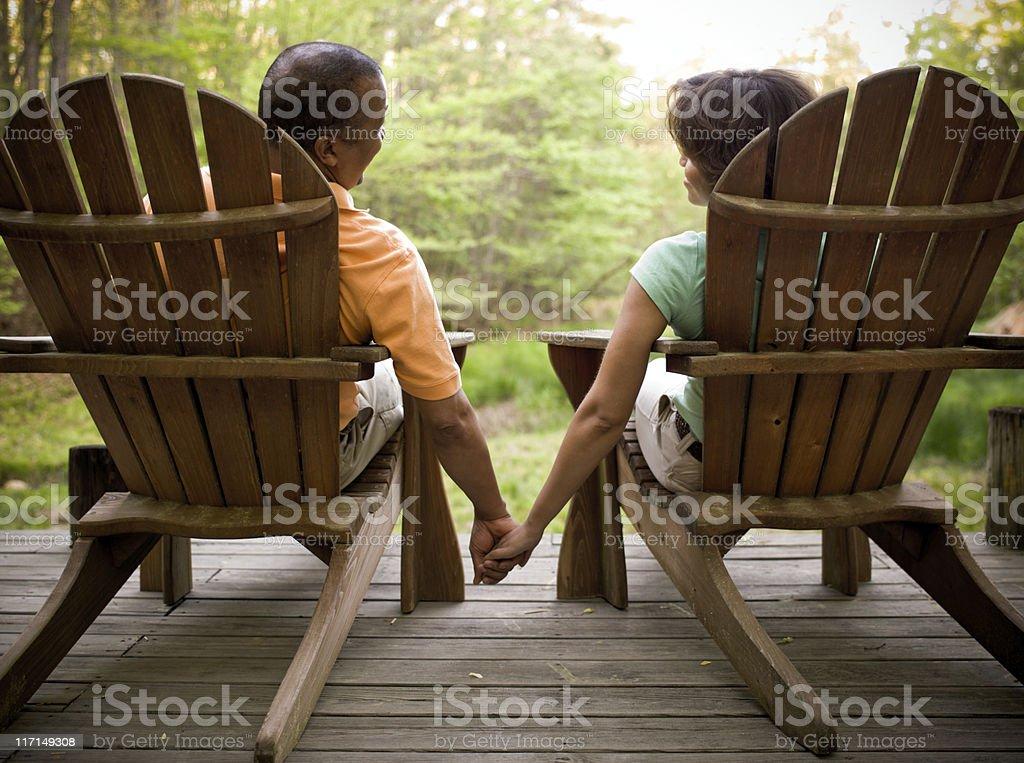 Adirondack Couple Holding Hands stock photo