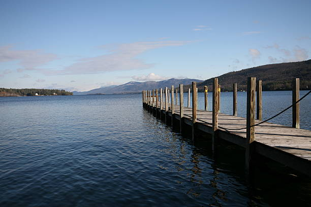 Adirondack Lake Dock stock photo